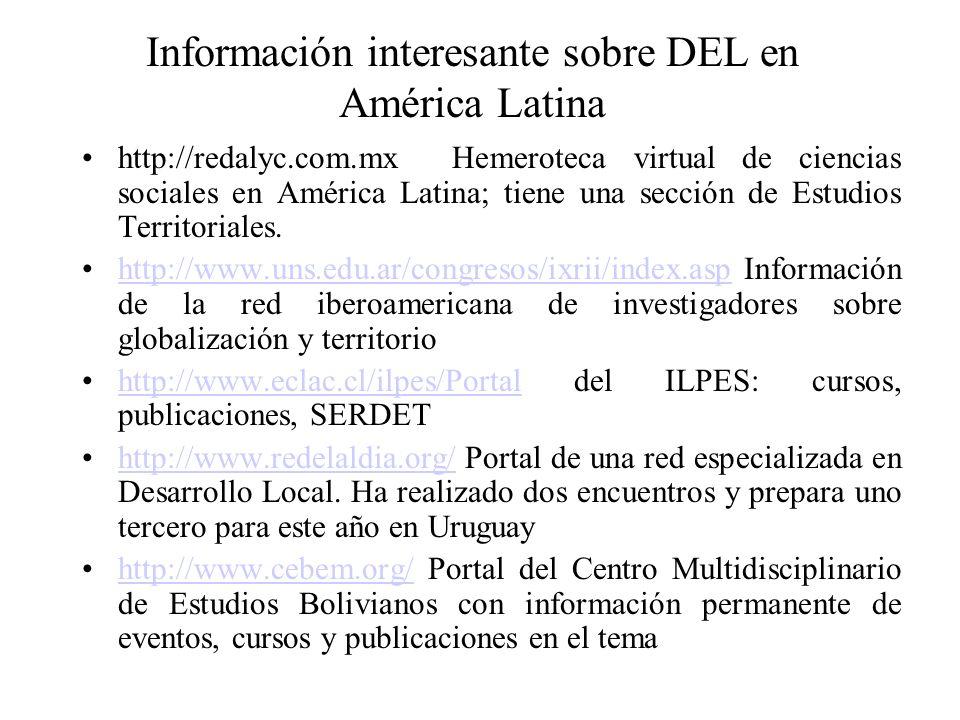Información interesante sobre DEL en América Latina http://redalyc.com.mx Hemeroteca virtual de ciencias sociales en América Latina; tiene una sección de Estudios Territoriales.
