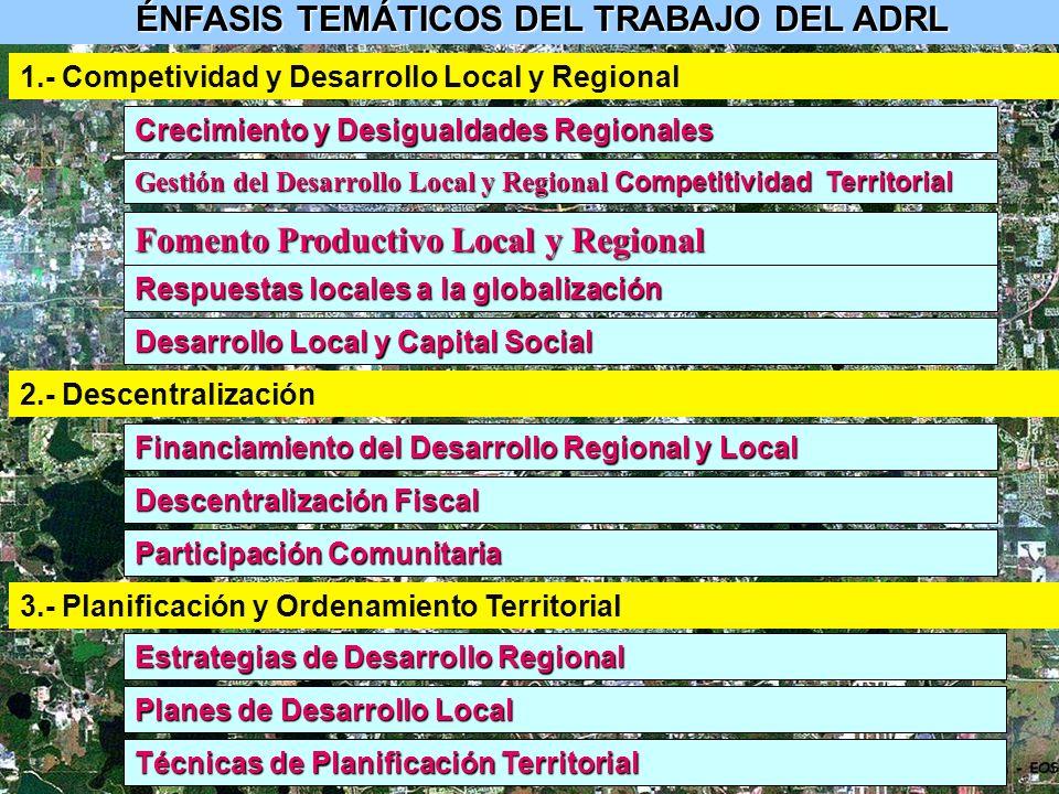 ÉNFASIS TEMÁTICOS DEL TRABAJO DEL ADRL 3.- Planificación y Ordenamiento Territorial Estrategias de Desarrollo Regional Planes de Desarrollo Local Técnicas de Planificación Territorial 2.- Descentralización Financiamiento del Desarrollo Regional y Local Descentralización Fiscal Participación Comunitaria 1.- Competividad y Desarrollo Local y Regional Crecimiento y Desigualdades Regionales Gestión del Desarrollo Local y Regional Competitividad Territorial Fomento Productivo Local y Regional Respuestas locales a la globalización Desarrollo Local y Capital Social