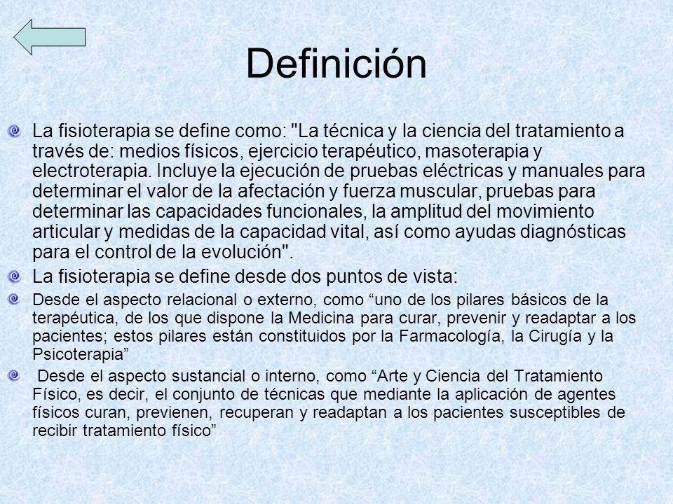 Definición La fisioterapia se define como: