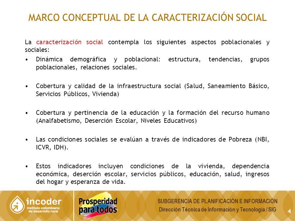 MARCO CONCEPTUAL DE LA CARACTERIZACIÓN SOCIAL La caracterización social contempla los siguientes aspectos poblacionales y sociales: Dinámica demográfica y poblacional: estructura, tendencias, grupos poblacionales, relaciones sociales.