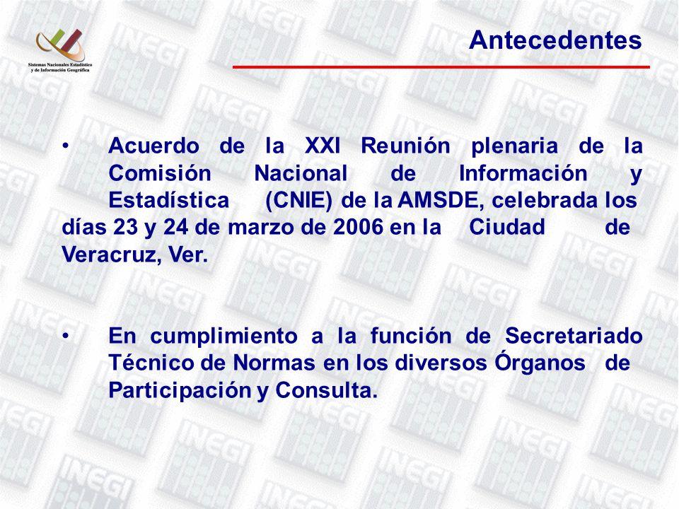 Antecedentes Acuerdo de la XXI Reunión plenaria de la Comisión Nacional de Información y Estadística (CNIE) de la AMSDE, celebrada los días 23 y 24 de marzo de 2006 en la Ciudad de Veracruz, Ver.