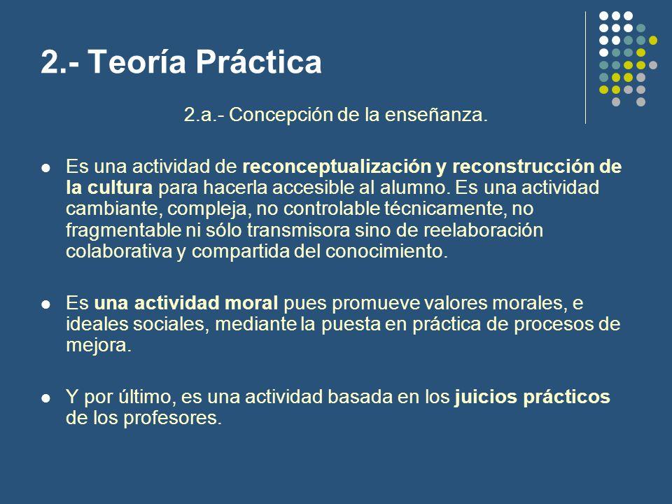 2.- Teoría Práctica Se opta por una psicología de base cognitiva.