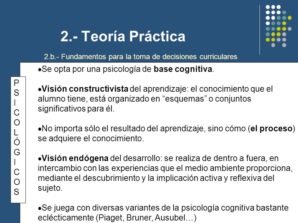 2.- Teoría Práctica TEÓRICO-SOCIOLÓGICOSTEÓRICO-SOCIOLÓGICOS En el fondo está el paradigma interpretativo-simbólico, con su perspectiva más dinámica, global y fenomenológica de los problemas curriculares.