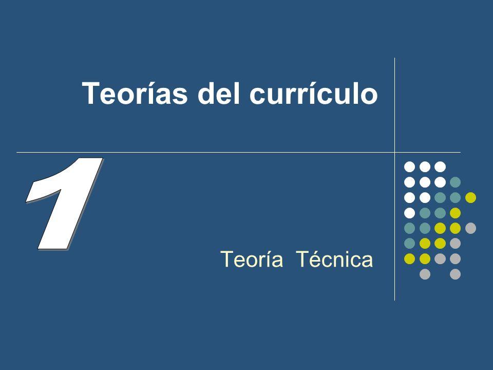 1.- Teorías del Curriculum: Teoría Técnica 1.a.- Concepción de la enseñanza.