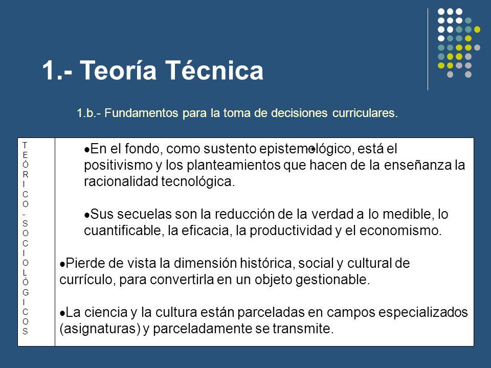 1.- Teoría Técnica 1.c.- Concepción del currículo.