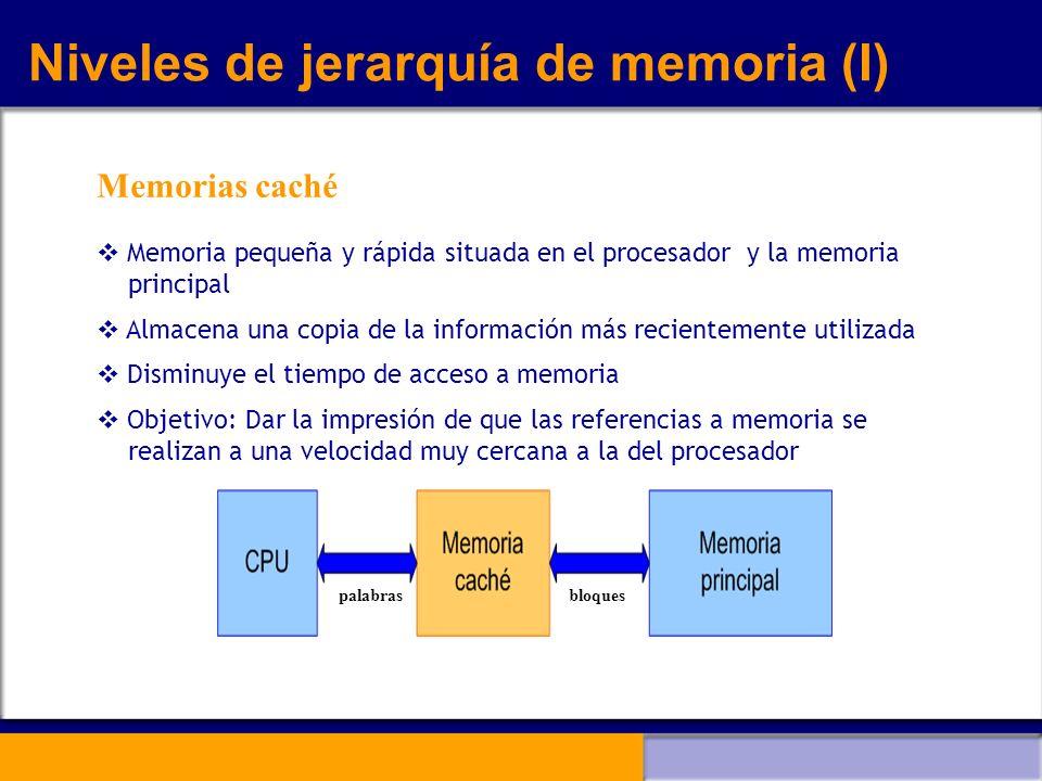 Niveles de jerarquía de memoria (I) Memorias caché Memoria pequeña y rápida situada en el procesador y la memoria principal Almacena una copia de la i