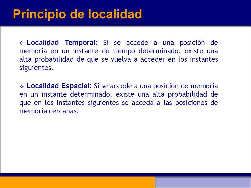 Principio de localidad Localidad Temporal: Si se accede a una posición de memoria en un instante de tiempo determinado, existe una alta probabilidad d