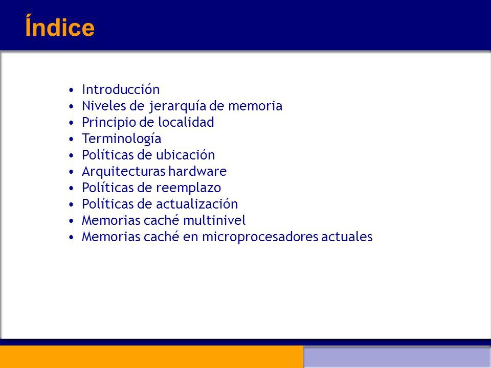 Niveles de jerarquía de memoria (IV) El sistema de memoria jerárquica debe hacer que en todo momento los datos que necesita la CPU se encuentren en el nivel más bajo de jerarquía La información fluye de un nivel superior a uno inferior a medida que se necesite La unidad de transferencia entre la MP y la MCa es el bloque o línea