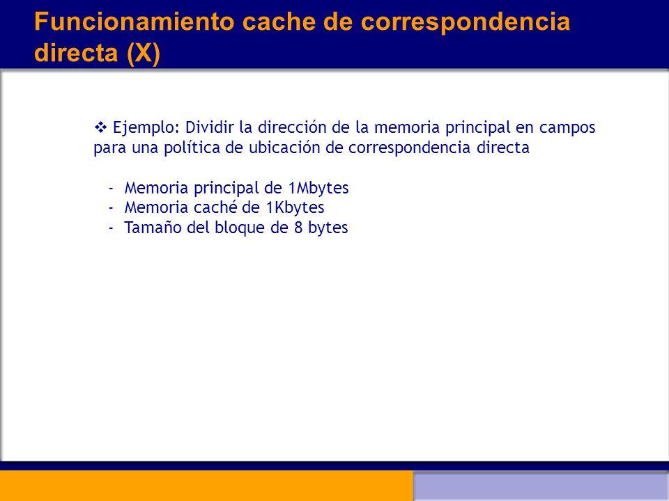 Funcionamiento cache de correspondencia directa (X) Ejemplo: Dividir la dirección de la memoria principal en campos para una política de ubicación de