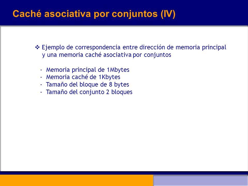 Caché asociativa por conjuntos (IV) Ejemplo de correspondencia entre dirección de memoria principal y una memoria caché asociativa por conjuntos - Mem