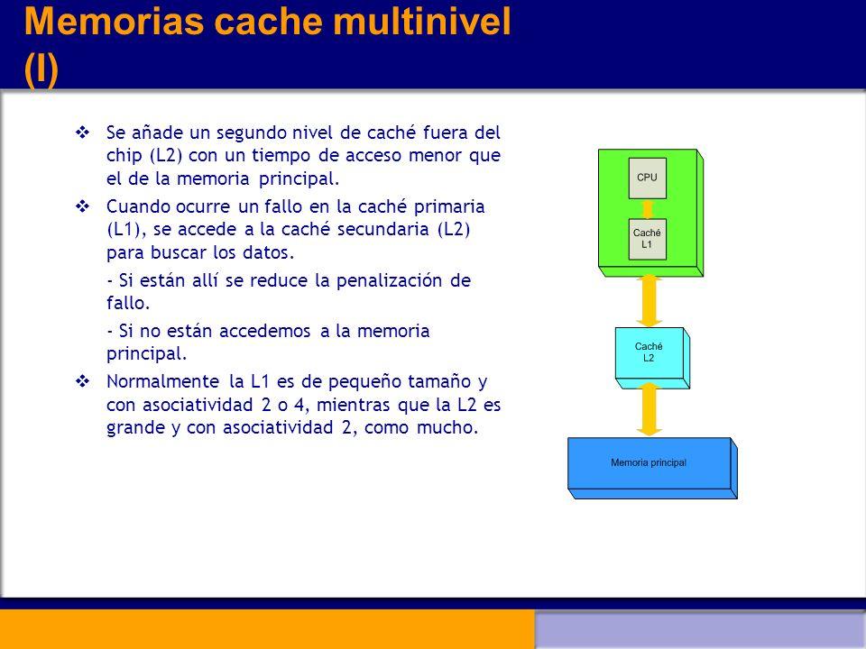 Memorias cache multinivel (I) Se añade un segundo nivel de caché fuera del chip (L2) con un tiempo de acceso menor que el de la memoria principal. Cua