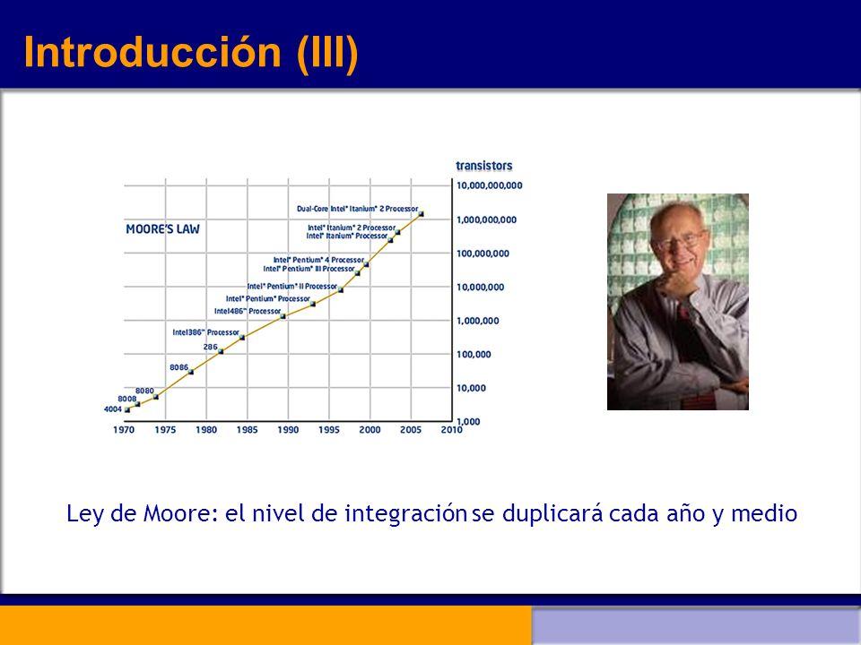 Ley de Moore: el nivel de integración se duplicará cada año y medio Introducción (III)