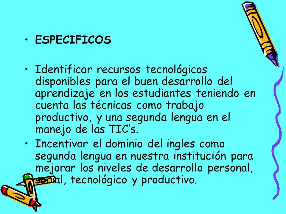 ESPECIFICOS Identificar recursos tecnológicos disponibles para el buen desarrollo del aprendizaje en los estudiantes teniendo en cuenta las técnicas c