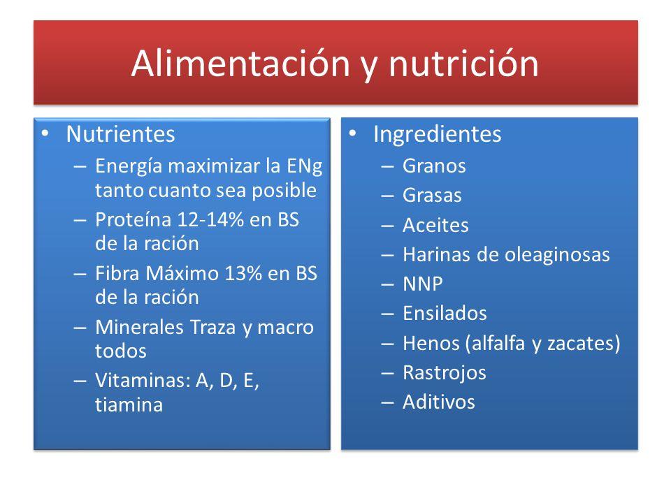 Alimentación y nutrición Nutrientes – Energía maximizar la ENg tanto cuanto sea posible – Proteína 12-14% en BS de la ración – Fibra Máximo 13% en BS
