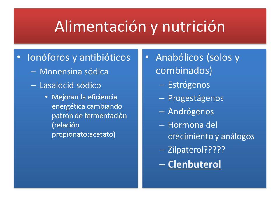 Alimentación y nutrición Ionóforos y antibióticos – Monensina sódica – Lasalocid sódico Mejoran la eficiencia energética cambiando patrón de fermentac