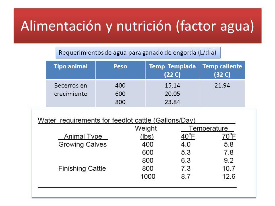 Alimentación y nutrición (factor agua) Requerimientos de agua para ganado de engorda (L/día) Tipo animalPesoTemp Templada (22 C) Temp caliente (32 C)