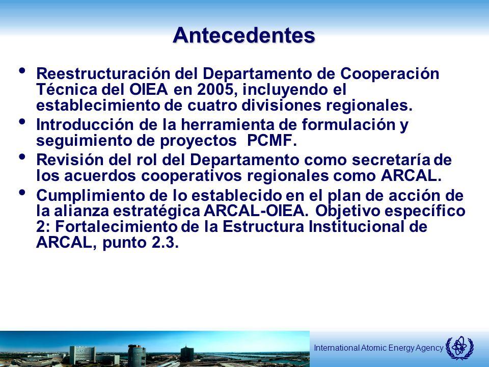 International Atomic Energy AgencyAntecedentes Reestructuración del Departamento de Cooperación Técnica del OIEA en 2005, incluyendo el establecimiento de cuatro divisiones regionales.
