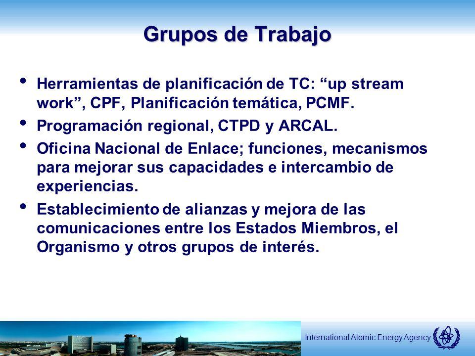International Atomic Energy Agency Grupos de Trabajo Herramientas de planificación de TC: up stream work, CPF, Planificación temática, PCMF.