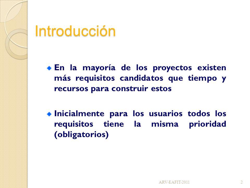 Introducción En la mayoría de los proyectos existen más requisitos candidatos que tiempo y recursos para construir estos Inicialmente para los usuario