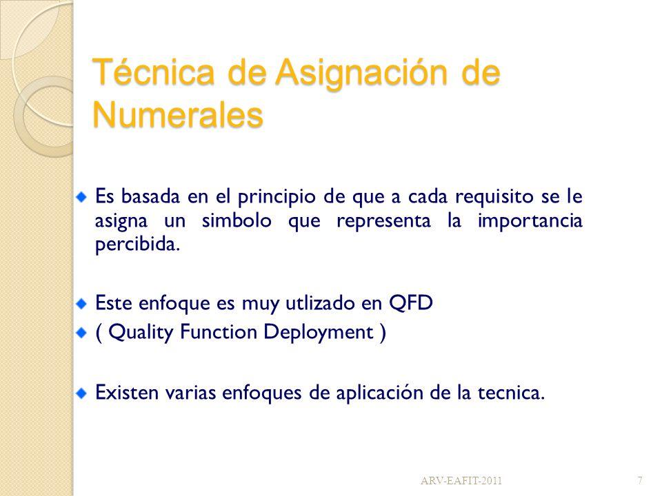 Técnica de Asignación de Numerales Es basada en el principio de que a cada requisito se le asigna un simbolo que representa la importancia percibida.
