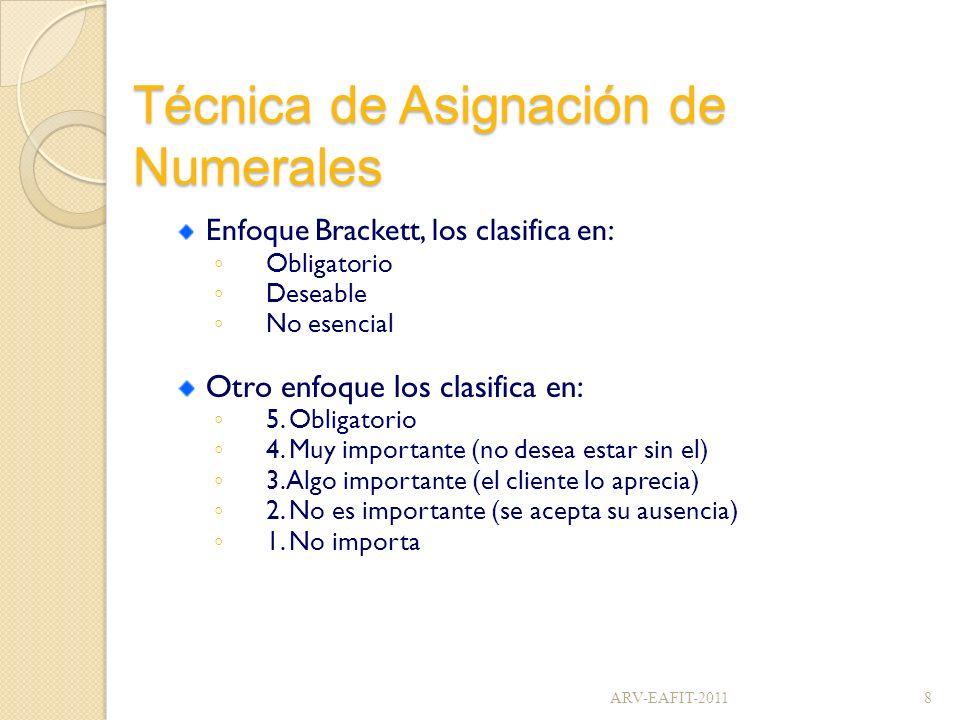 Técnica de Asignación de Numerales Enfoque Brackett, los clasifica en: Obligatorio Deseable No esencial Otro enfoque los clasifica en: 5. Obligatorio