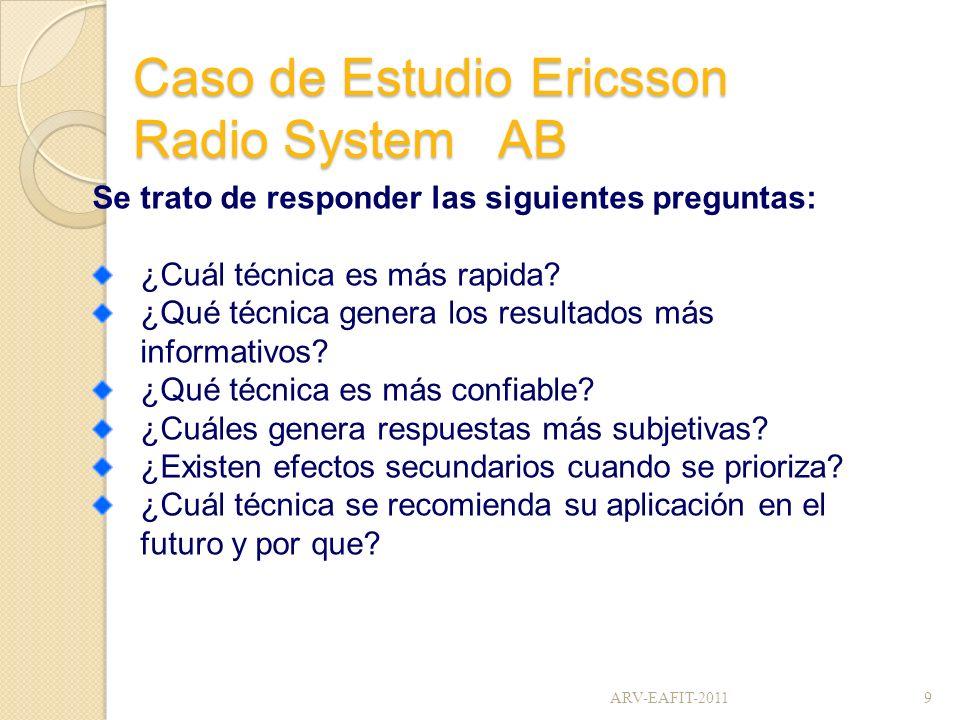 Caso de Estudio Ericsson Radio System AB Se trato de responder las siguientes preguntas: ¿Cuál técnica es más rapida? ¿Qué técnica genera los resultad
