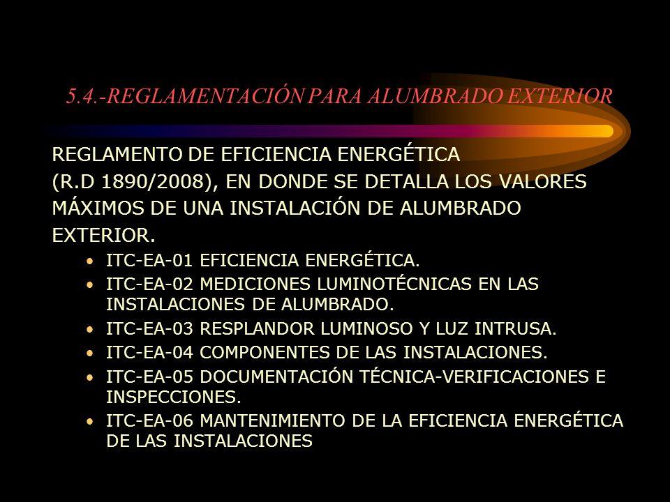 5.4.-REGLAMENTACIÓN PARA ALUMBRADO EXTERIOR REGLAMENTO DE EFICIENCIA ENERGÉTICA (R.D 1890/2008), EN DONDE SE DETALLA LOS VALORES MÁXIMOS DE UNA INSTAL