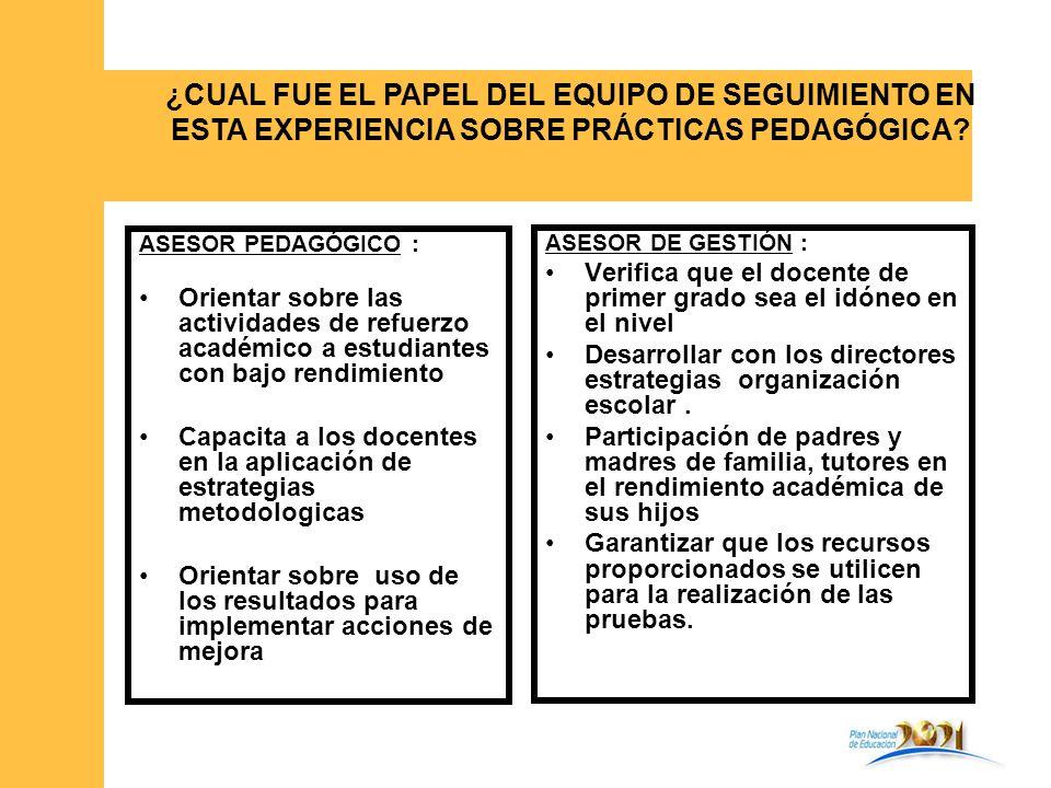 ASESOR PEDAGÓGICO : Orientar sobre las actividades de refuerzo académico a estudiantes con bajo rendimiento Capacita a los docentes en la aplicación d