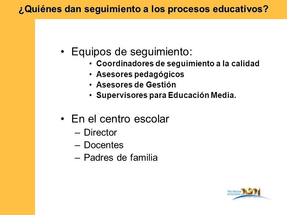 Equipos de seguimiento: Coordinadores de seguimiento a la calidad Asesores pedagógicos Asesores de Gestión Supervisores para Educación Media. En el ce