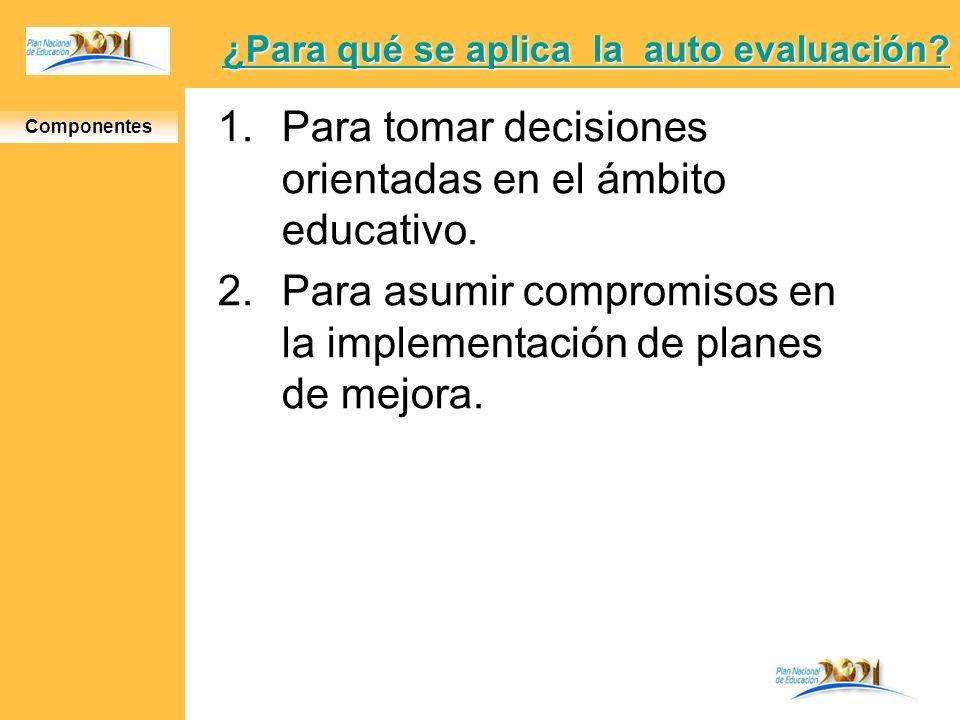 ¿Para qué se aplica la auto evaluación? ¿Para qué se aplica la auto evaluación? 1.Para tomar decisiones orientadas en el ámbito educativo. 2.Para asum