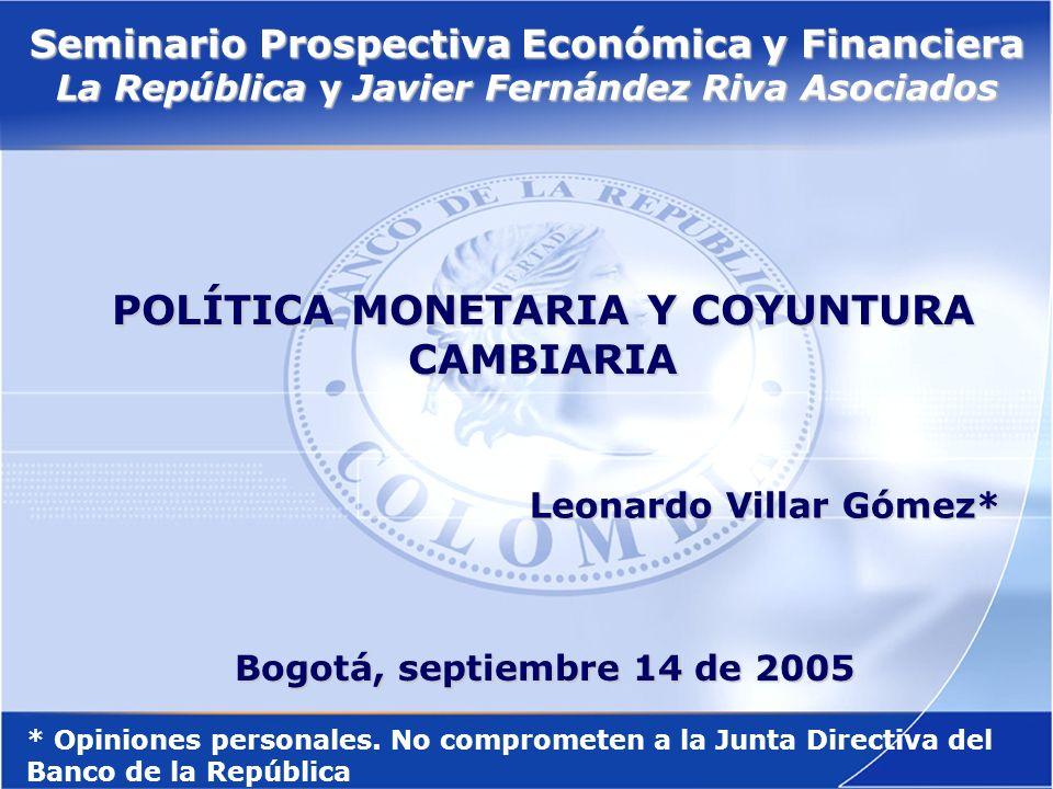22 En resumen, el rápido crecimiento del agregado monetario ampliado (M3) no es consecuencia de una política de expansión desbordada sino el reflejo de una recomposición de portafolios a favor del peso colombiano.
