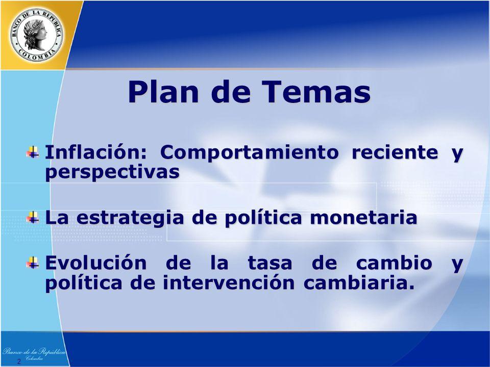 2 Plan de Temas Inflación: Comportamiento reciente y perspectivas La estrategia de política monetaria Evolución de la tasa de cambio y política de intervención cambiaria.