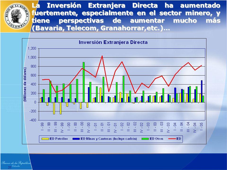 31 La Inversión Extranjera Directa ha aumentado fuertemente, especialmente en el sector minero, y tiene perspectivas de aumentar mucho más (Bavaria, Telecom, Granahorrar,etc.)…