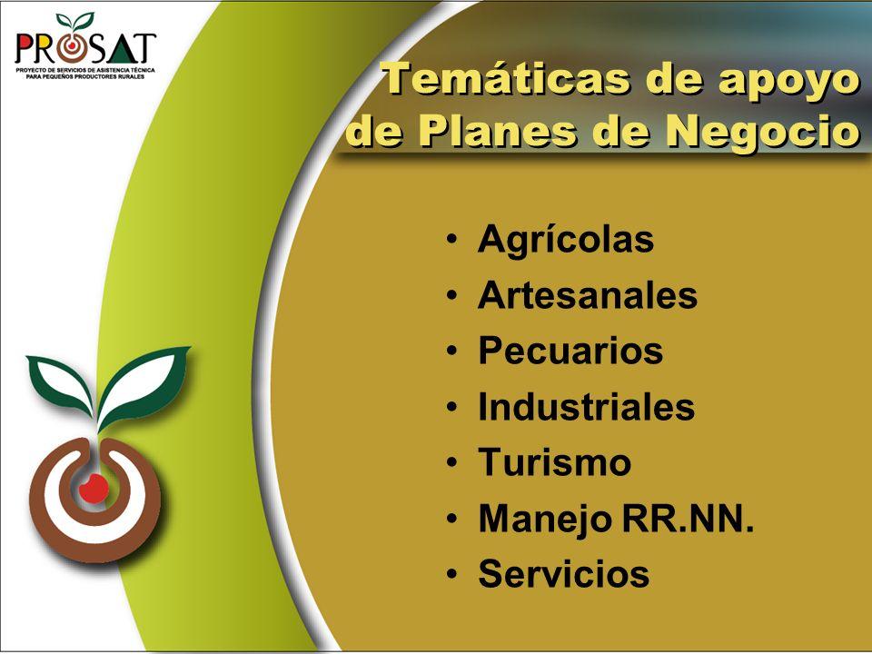 Temáticas de apoyo de Planes de Negocio Agrícolas Artesanales Pecuarios Industriales Turismo Manejo RR.NN. Servicios