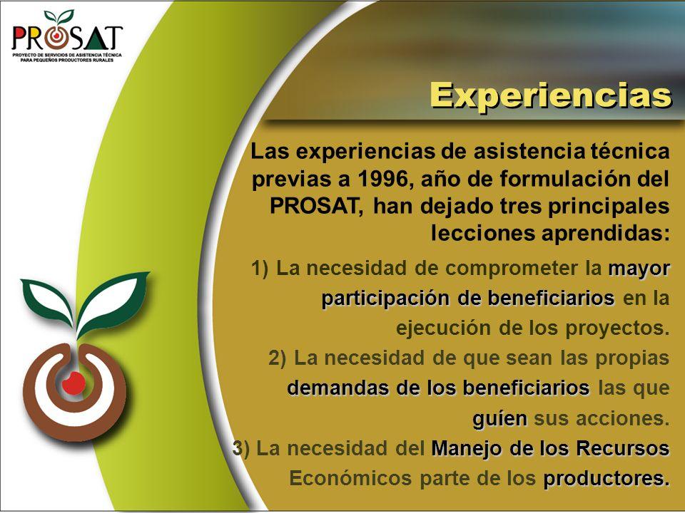 Las experiencias de asistencia técnica previas a 1996, año de formulación del PROSAT, han dejado tres principales lecciones aprendidas: mayor 1)La nec