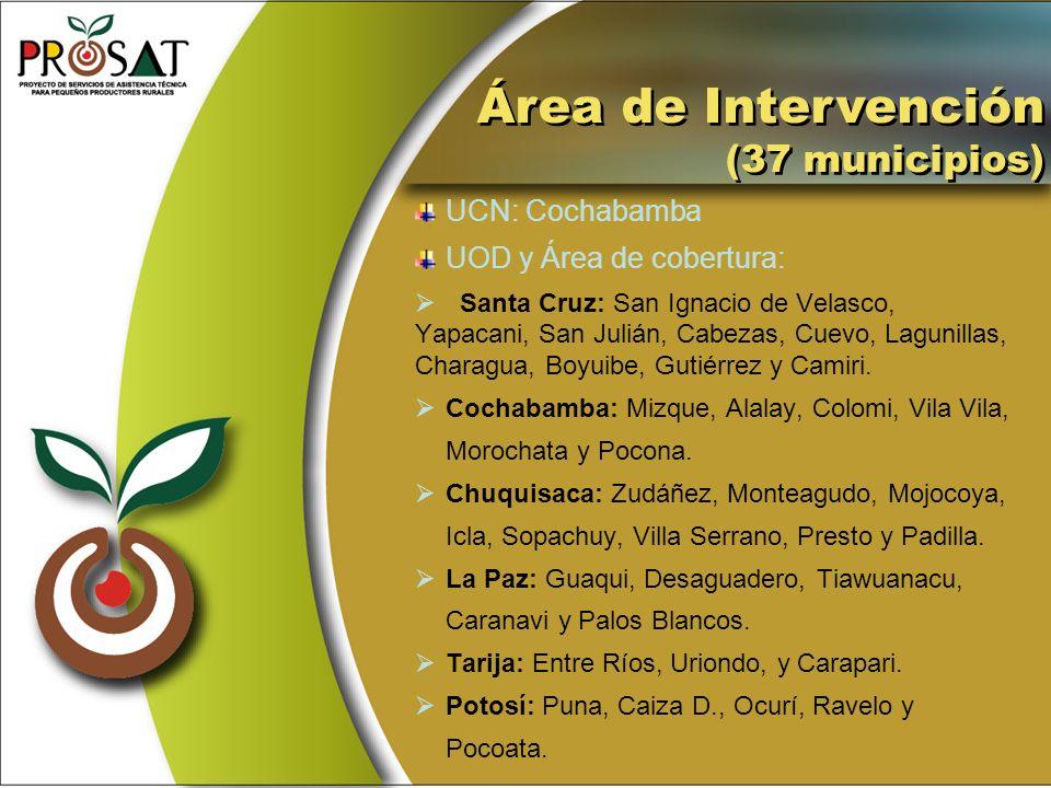 Área de Intervención (37 municipios) Área de Intervención (37 municipios) UCN: Cochabamba UOD y Área de cobertura: Santa Cruz: San Ignacio de Velasco,