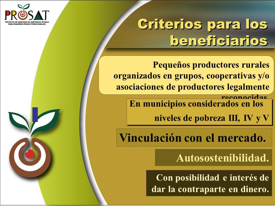 Pequeños productores rurales organizados en grupos, cooperativas y/o asociaciones de productores legalmente reconocidas. Criterios para los beneficiar
