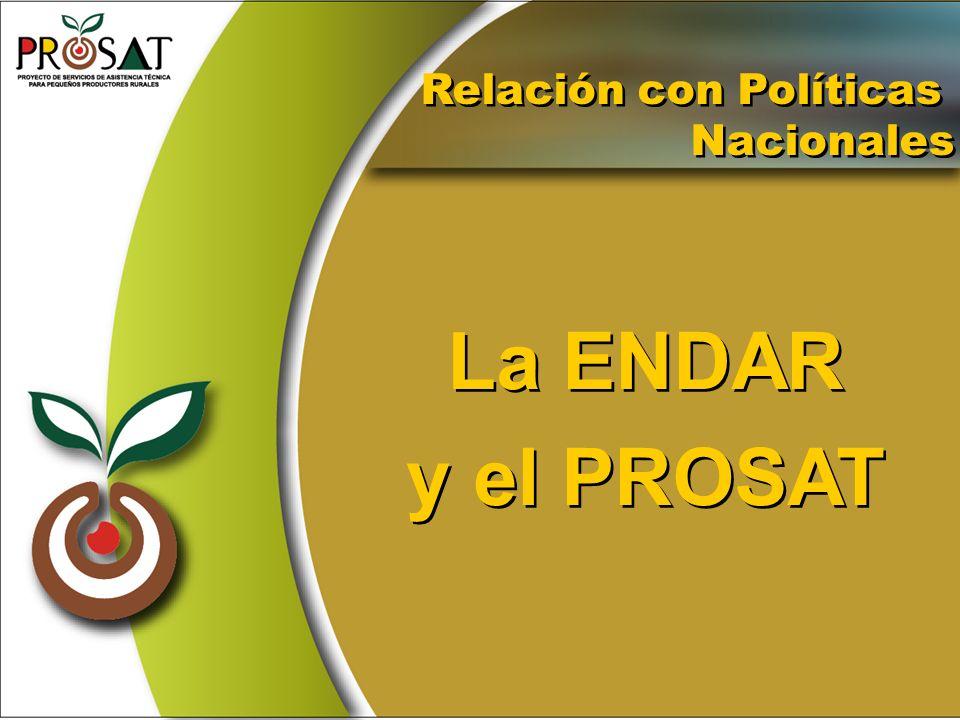 La ENDAR y el PROSAT La ENDAR y el PROSAT Relación con Políticas Nacionales Relación con Políticas Nacionales
