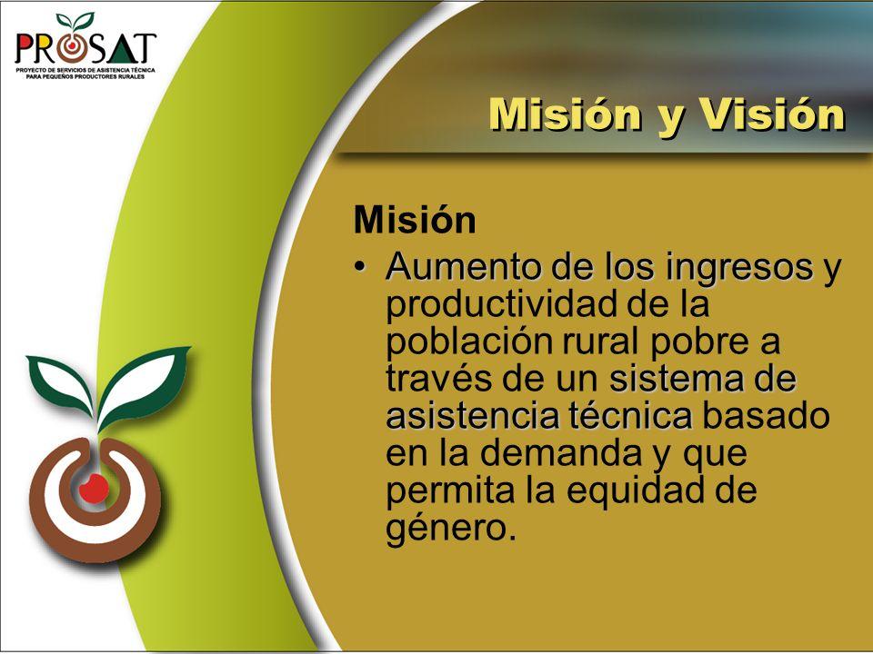 Misión y Visión Misión Aumento de los ingresos sistema de asistencia técnicaAumento de los ingresos y productividad de la población rural pobre a trav