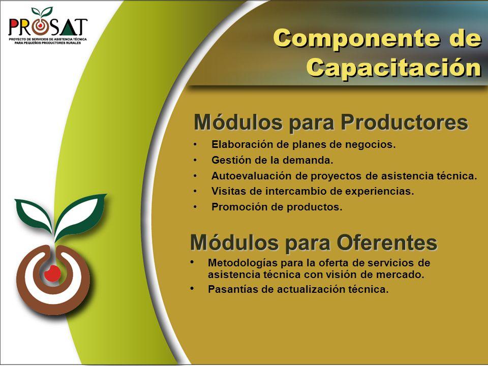 Componente de Capacitación Módulos para Productores Elaboración de planes de negocios. Gestión de la demanda. Autoevaluación de proyectos de asistenci