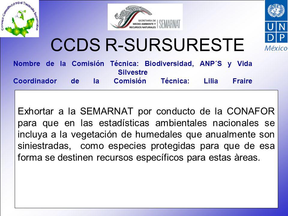 CCDS R-SURSURESTE Exhortar a la SEMARNAT por conducto de la CONAFOR para que en las estadísticas ambientales nacionales se incluya a la vegetación de humedales que anualmente son siniestradas, como especies protegidas para que de esa forma se destinen recursos específicos para estas àreas.