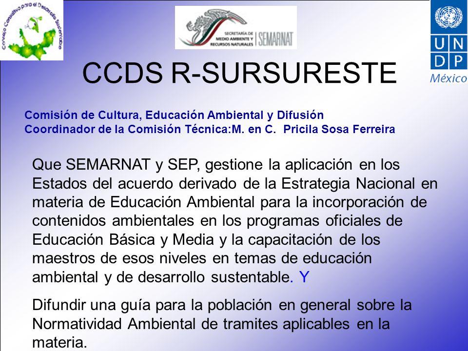 CCDS R-SURSURESTE Nombre de la Comisión Técnica: Forestal, suelos y agua Coordinador de la Comisión Técnica: Guadalupe Y.