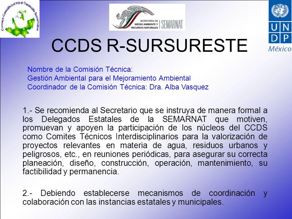 CCDS R-SURSURESTE Nombre de la Comisión Técnica: Gestión Ambiental para el Mejoramiento Ambiental Coordinador de la Comisión Técnica: Dra.