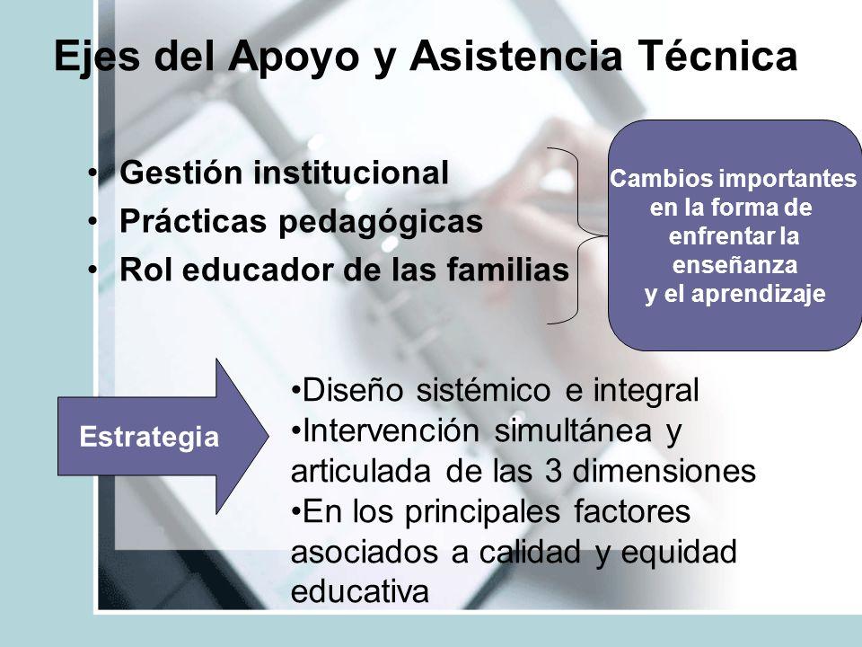 Ejes del Apoyo y Asistencia Técnica Gestión institucional Prácticas pedagógicas Rol educador de las familias Estrategia Cambios importantes en la form