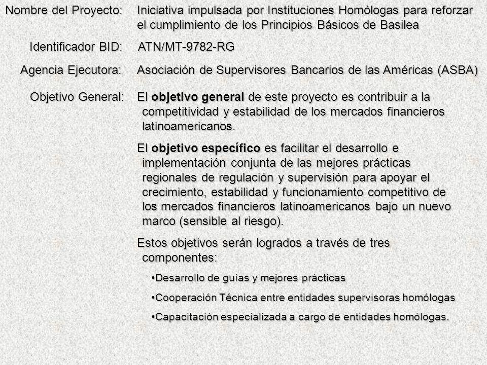Iniciativa impulsada por Instituciones Homólogas para reforzar el cumplimiento de los Principios Básicos de Basilea ATN/MT-9782-RG Asociación de Supervisores Bancarios de las Américas (ASBA) Nombre del Proyecto: Identificador BID: Agencia Ejecutora: Objetivo General: El objetivo general de este proyecto es contribuir a la competitividad y estabilidad de los mercados financieros latinoamericanos.