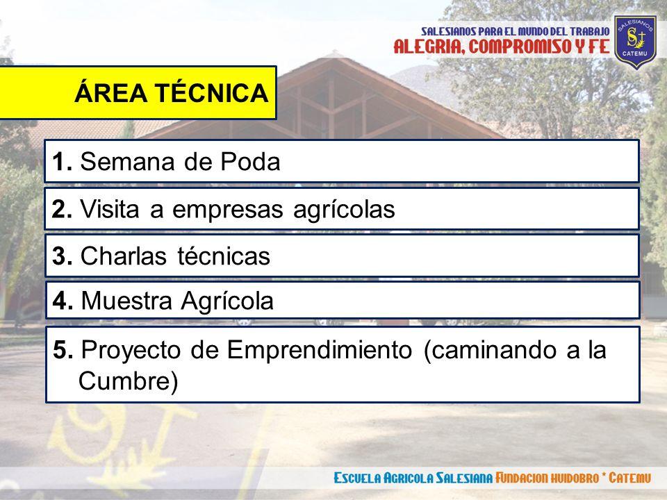 ÁREA TÉCNICA 1. Semana de Poda 2. Visita a empresas agrícolas 3.