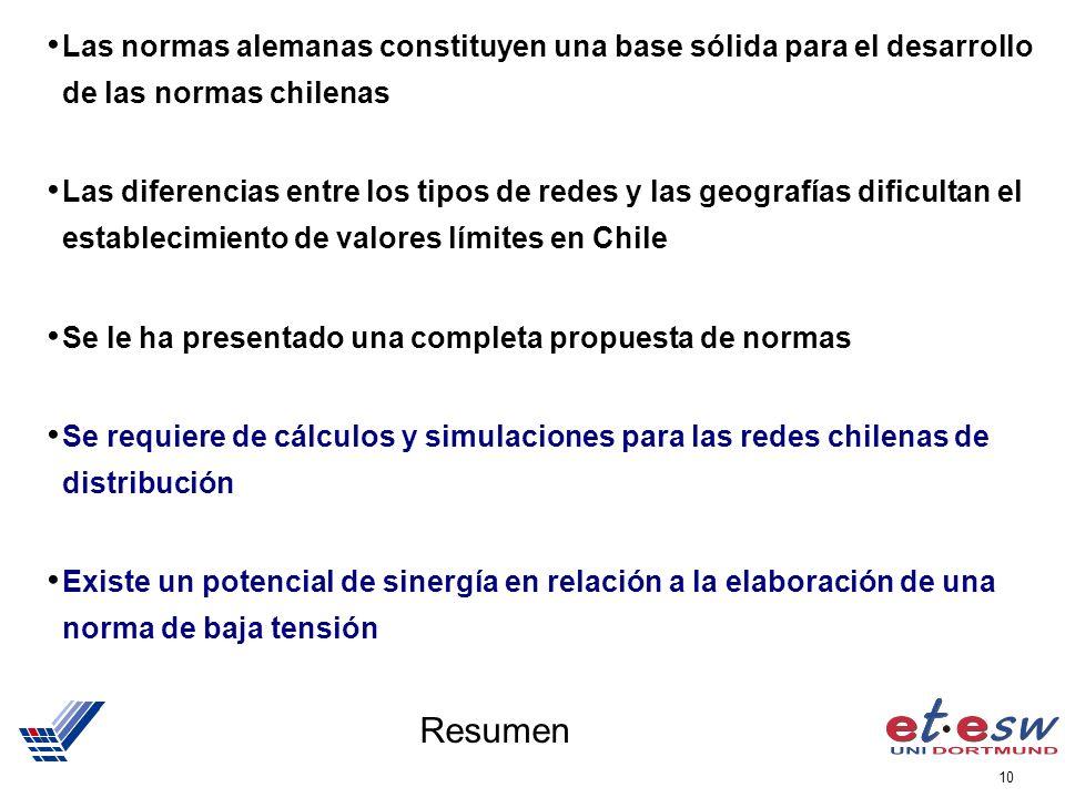10 Resumen Las normas alemanas constituyen una base sólida para el desarrollo de las normas chilenas Las diferencias entre los tipos de redes y las ge