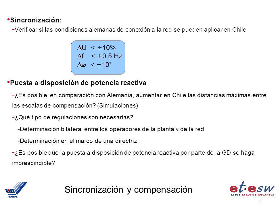 11 Sincronización y compensación Sincronización: - Verificar si las condiciones alemanas de conexión a la red se pueden aplicar en Chile Puesta a disp