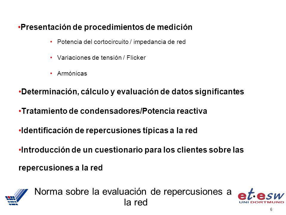 6 Norma sobre la evaluación de repercusiones a la red Presentación de procedimientos de medición Potencia del cortocircuito / impedancia de red Variac
