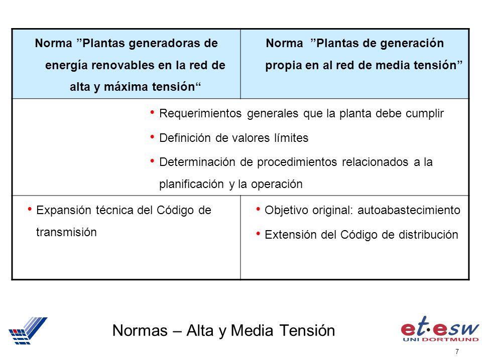 7 Normas – Alta y Media Tensión Norma Plantas generadoras de energía renovables en la red de alta y máxima tensión Norma Plantas de generación propia